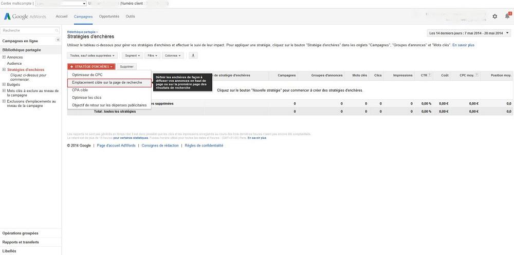 Emplacement cible page recherche AdWords