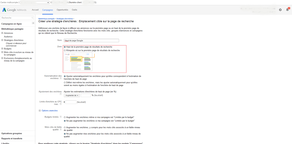 filtre haut page google AdWords