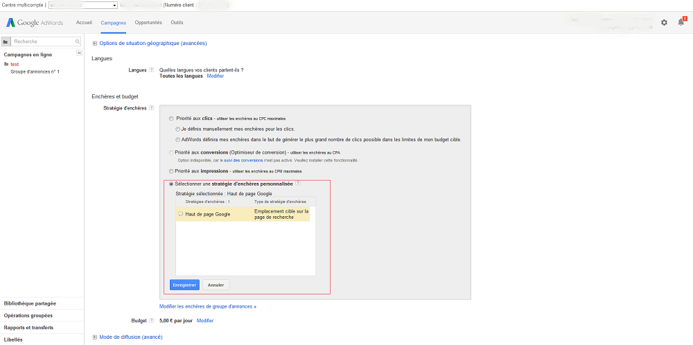 parametre enchere personnalise AdWords