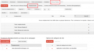 exclusion emplacement AdWords