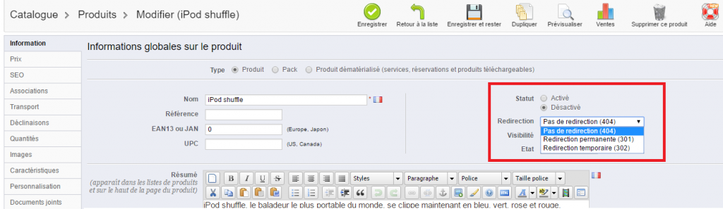 redirection-produit-prestashop