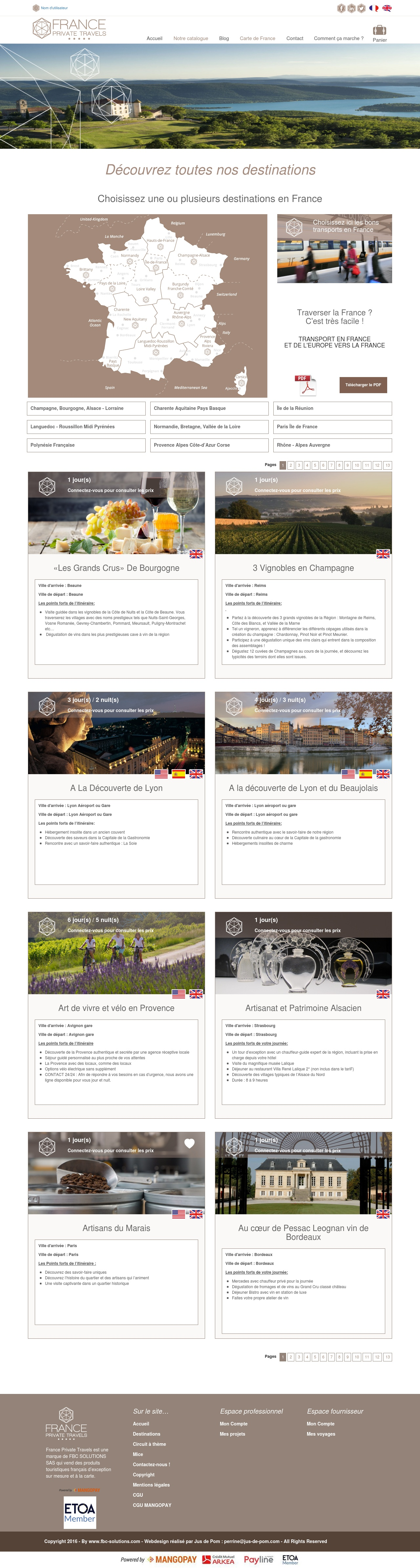 France Private Travels Carte